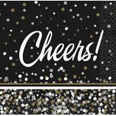 New Years Table Accessories Black and Gold Confetti Cheers Cocktail Napkins Image