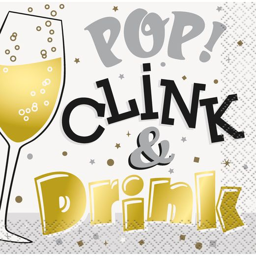 New Years Table Accessories Pop, Clink, and Drink Cocktail Napkins Image