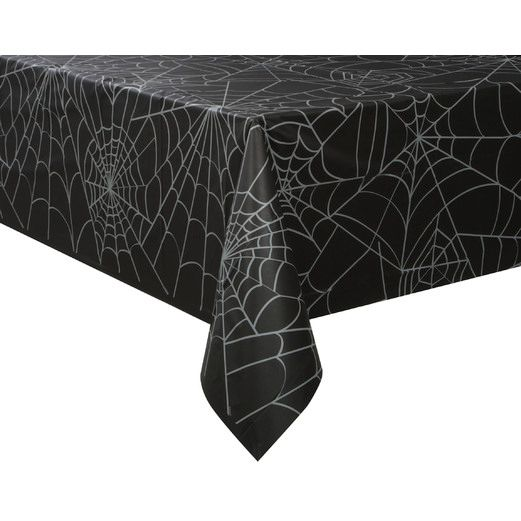 Halloween Table Accessories Black Spider Web Tablecover Image