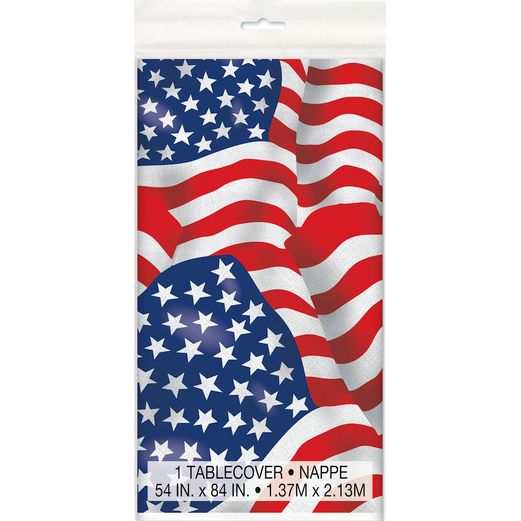 4th of July Table Accessories USA Flag Plastic Tablecover Image