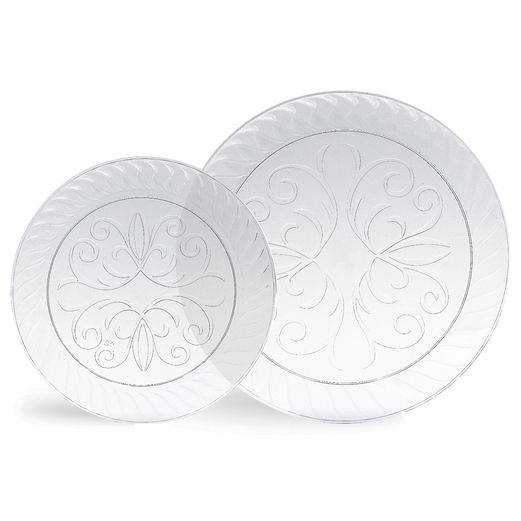 "Table Accessories 9"" Fluted Clear Plastic Plates Image"
