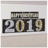 New Years Decorations 2019 New Year Backdrop Black, Gold, & Silver Image