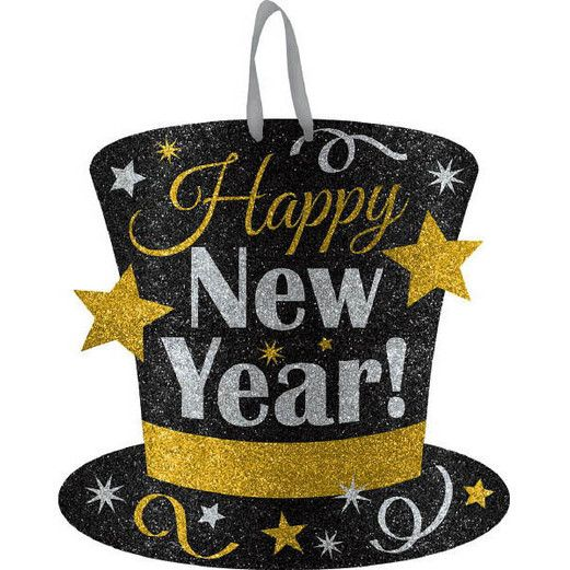 New Years Decorations Happy New Year Glittered Top Hat Sign Image