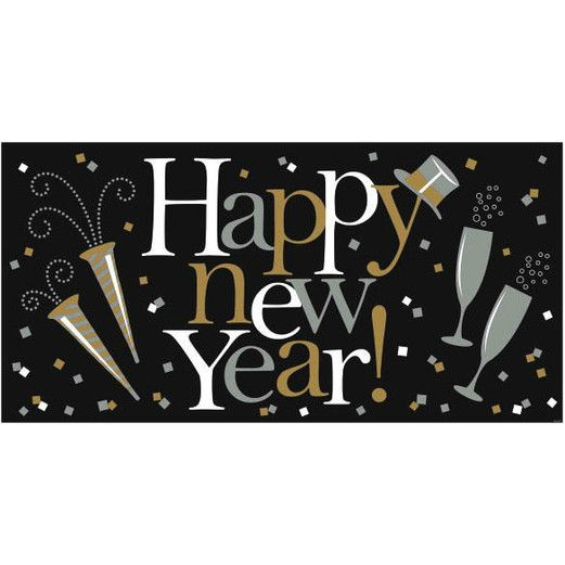 New Years Decorations Jumbo Plastic Happy New Year Banner Image