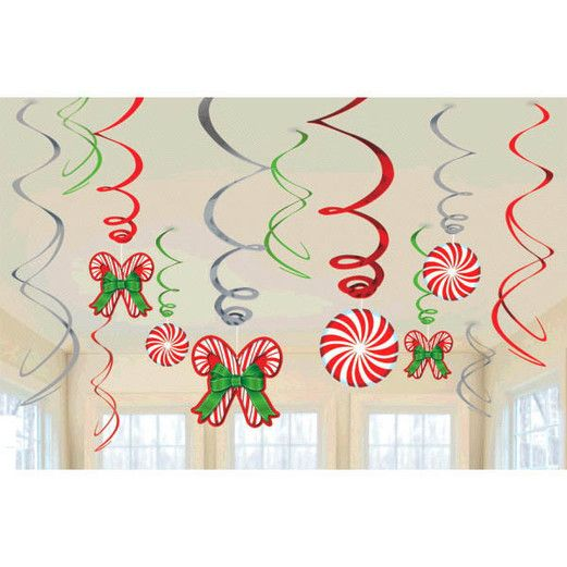 Christmas Decorations Candy Cane Foil Swirl Decor Pack Image
