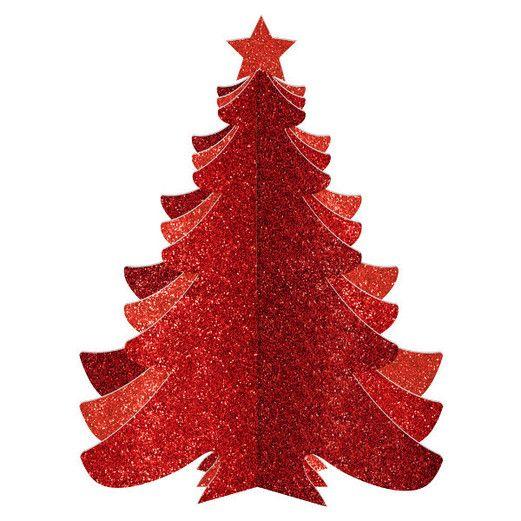3-D Medium Density Fiber Red Glitter Tree