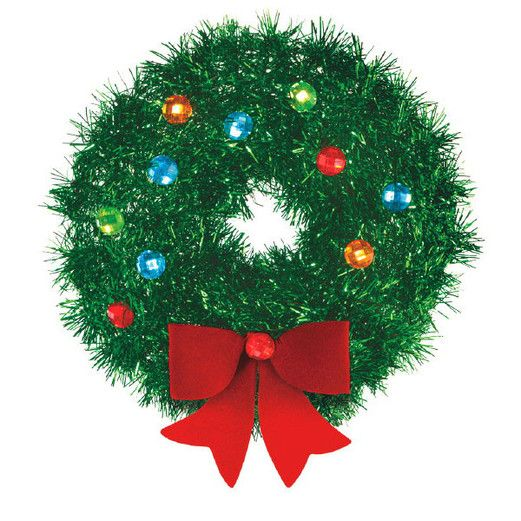 Christmas Decorations Small Tinsel Wreath with Bow Image