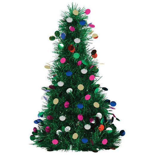 Christmas Decorations Tinsel Tree with Ornaments Image
