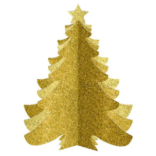 Christmas Decorations 3-D Medium Density Fiber Gold Glitter Tree Image