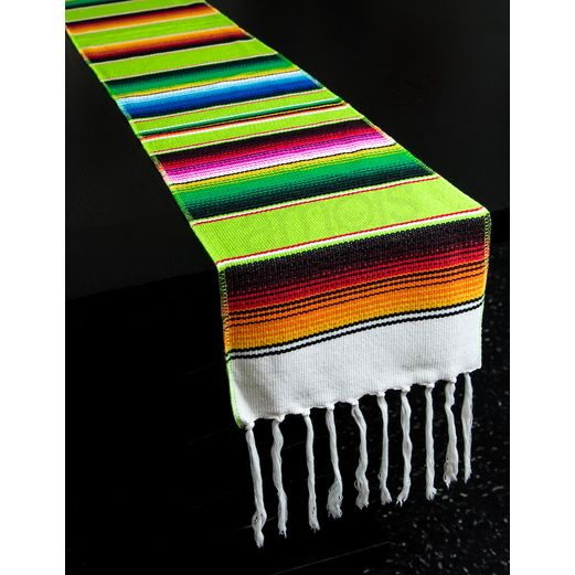 Fiesta Table Accessories Lime Green Woven Serape Table Runner Image