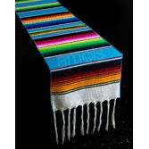 Fiesta Table Accessories Turquoise Woven Serape Table Runner Image