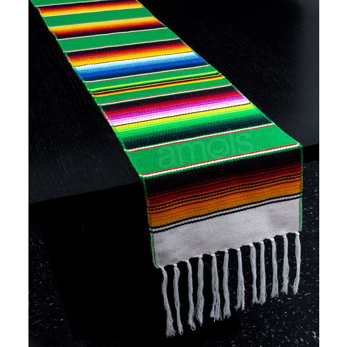 Green Woven Serape Table Runner