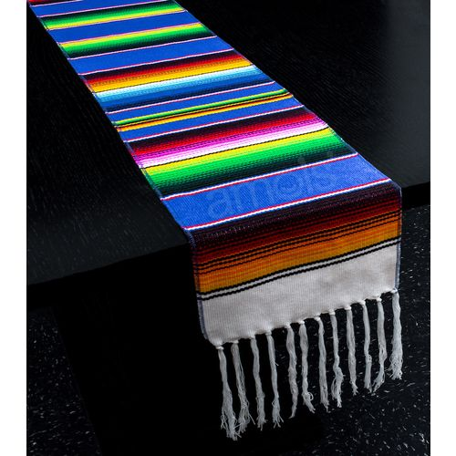 Blue Woven Serape Table Runner