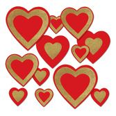Valentine's Day Decorations Glittered Heart Cutouts Image