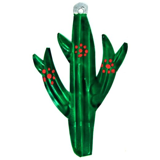 Fiesta Decorations Cactus with Red Flowers Tin Ornament Image