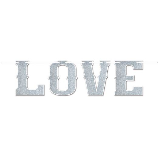 Valentine's Day Decorations Glittered Love Streamer Image