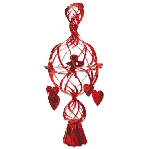 Valentine's Day Decorations Hanging Metallic Cupid Image