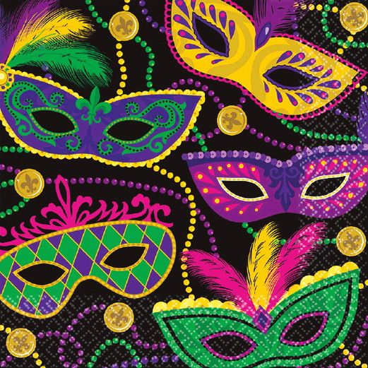 Mardi Gras Table Accessories Mardi Gras Masks Luncheon Napkins Image