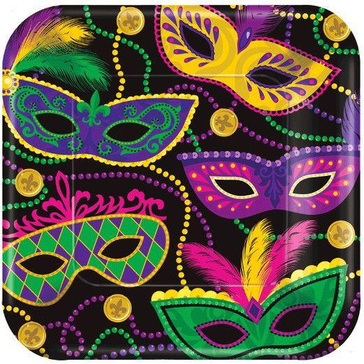 "Mardi Gras Table Accessories Mardi Gras Masks 10"" Plates Image"