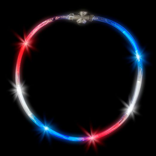 4th of July Glow Lights Red-White-Blue-Flashing Necklace Image