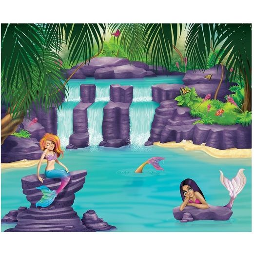 Birthday Party Decorations Mermaid Lagoon Insta-Mural Image