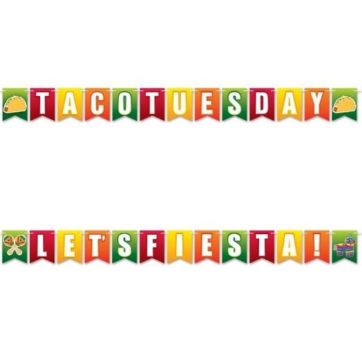 Fiesta Decorations Let's Fiesta! & Taco Tuesday Streamer Image