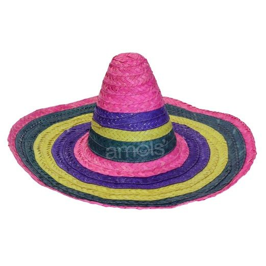 Adult Rainbow Straw Sombrero