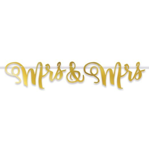 Wedding Decorations Foil Mrs & Mrs Streamer Image