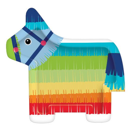 Fiesta Table Accessories Donkey Pinata Paper Plates Image