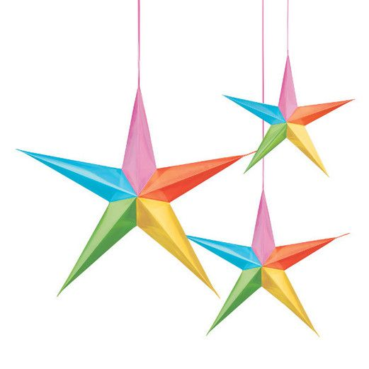 Decorations Multicolor Hanging 3D Stars Image