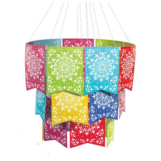 Fiesta Decorations Del Sol Flag Chandelier Image