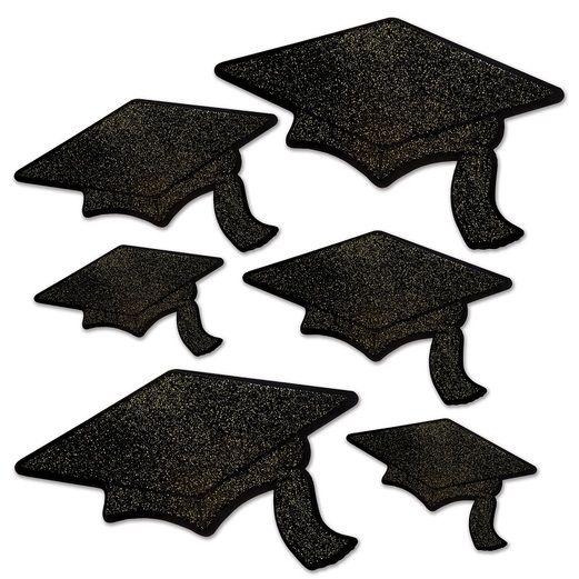 Graduation Decorations Black Glittered Grad Cap Cutouts Image