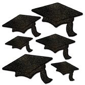 Graduation Decorations Black Glittered Grad Cap Cutouts Image