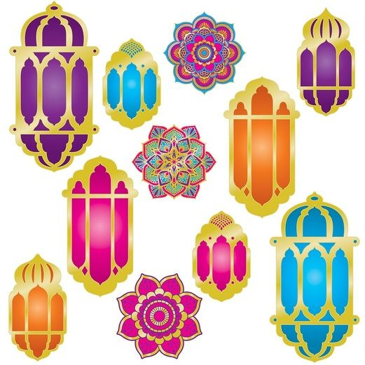 Birthday Party Decorations Foil Lantern & Mandala Cutouts Image