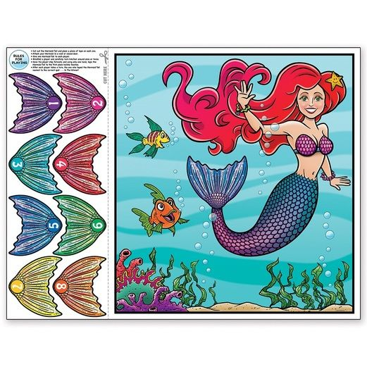 Birthday Party Decorations Pin the tail- Mermaid Game Image