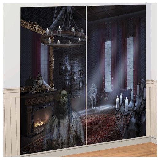Halloween Decorations Dark Manor Scene Setter Image