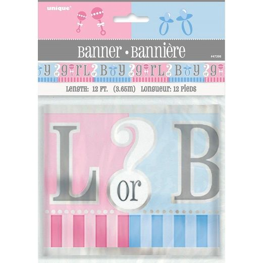 Baby Shower Decorations Gender Reveal Foil Banner Image