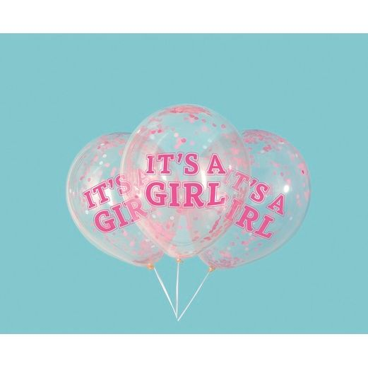 "Baby Shower Balloons 12""Girl Confetti Filled Balloon Image"