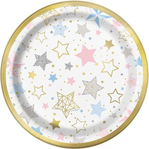 "Baby Shower Table Accessories Twinkle Star 7"" Plates 8ct Image"