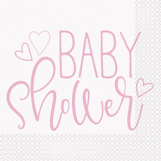 Baby Shower Table Accessories Pink Hearts Baby Shower Luncheon Napkins Image