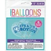 "Baby Shower Balloons 12"" Boy Confetti Filled Balloon Image"