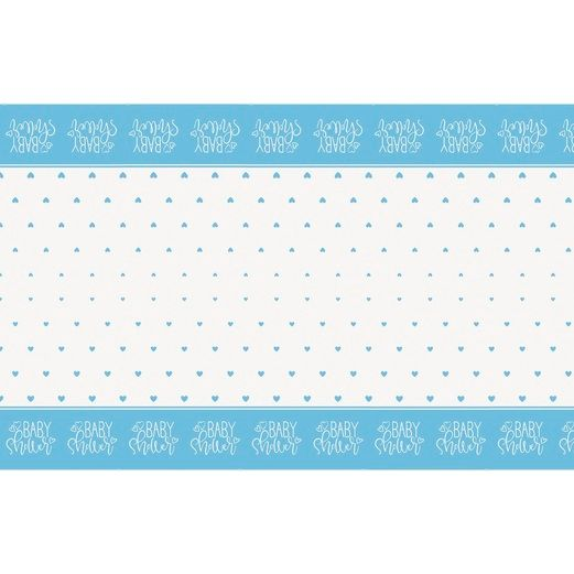 Baby Shower Table Accessories Blue Hearts Baby Shower Tablecover Image