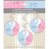 Baby Shower Decorations Gender Reveal Hanging Swirls Image