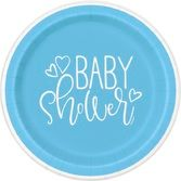 "Baby Shower Table Accessories Blue Hearts Baby Shower 7"" Plates Image"