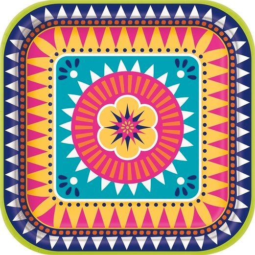 "Fiesta Table Accessories Boho Fiesta 9""Square Plate 8ct Image"