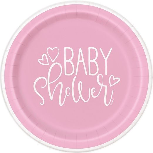 Baby Shower Table Accessories Pink Hearts Baby Shower Plates Image