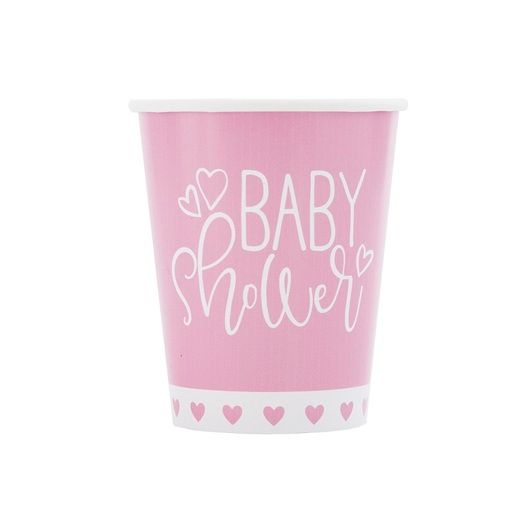 Baby Shower Table Accessories Pink Hearts Baby Shower Cups Image