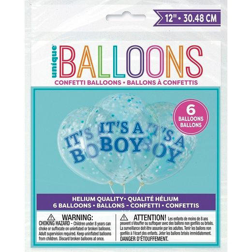 """Baby Shower Balloons 12"""" Boy Confetti Filled Balloon Image"""