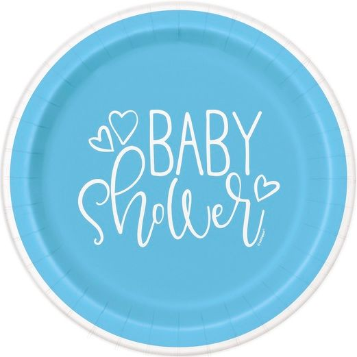 "Baby Shower Table Accessories Blue Hearts Baby Shower 9"" Plates Image"