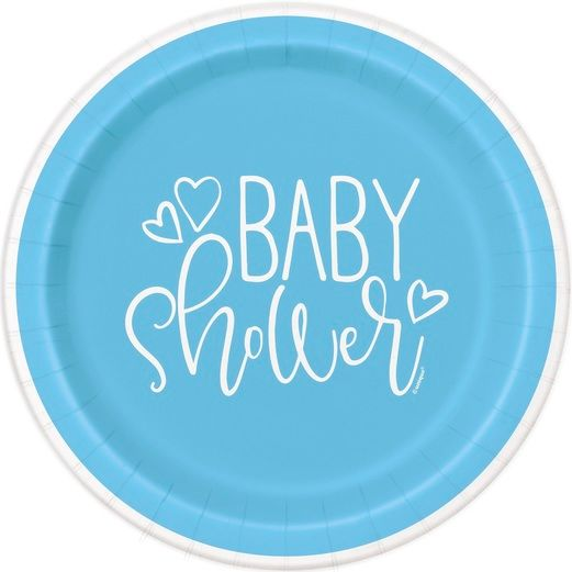 """Blue Hearts Baby Shower 7"""" Plates"""